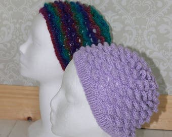 "Instant download ""Heather"" knitted ladies crocodile st beanie knitting pattern, Beanie, Cap HKP4"