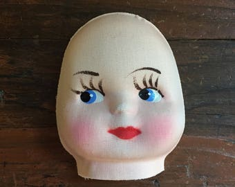 Fabric Doll Face / Vintage Doll Making Supplies / Hand Painted Cloth Doll Face / Craft Supply