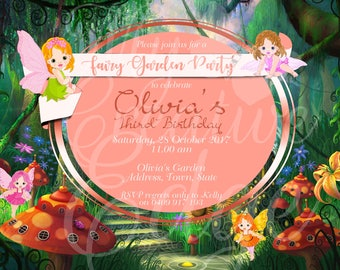 Fairy Garden Party Birthday Invitation - Personalised Digital File Only