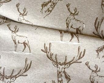 Deer Stag Elk Grey Meliert  Lillestoff Organic Sweatshirting French Terry - UK seller