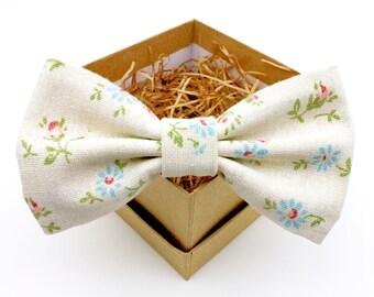 Cream Floral Bow Tie - Mens Pre-Tied Bow Tie - Womens Pre-Tied Bow Tie - Blue Floral Bow Tie - Groomsmen Bow Ties