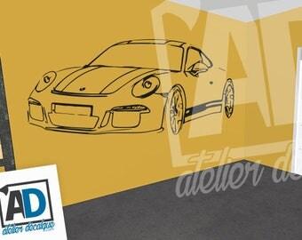 Wall sticker R-024 car Porsche 911 trait only