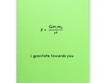 Gravity Equation Valentine Card - Newton's Law of Gravity Love Card - Physics Math Nerd Geek Friendship Card