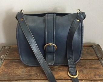Ganson Leather Saddle Bag Purse, designer leather saddle bag, vintage leather purse, blue leather purse
