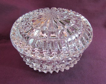 Faceted Glass Lidded Trinket Box