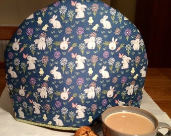 Tea Cosy, Tea cozy  in pretty fabric with bunnies/ rabbits and ditsy carrots and flowers, tea cozy