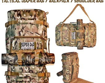 Custom SUPER DAD Mens Diaper Bag - Tactical Backpack - Camo Diaper Bag - Duffle Bag < Your Choice of Backpack Color > New Baby New Dad Gift