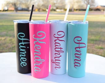 Personalized Tumbler, bachelorette party gift, Skinny Tumbler, Wedding Gift, Party Favor, Anniversary Gift, For her, Bridal Party Gift