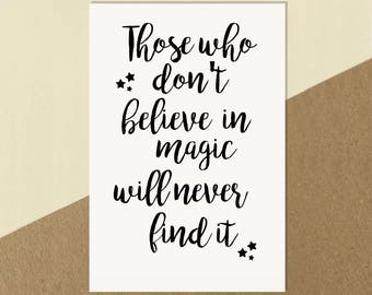 Roald Dahl Inspired 'Believe in Magic' Quote Print Poster