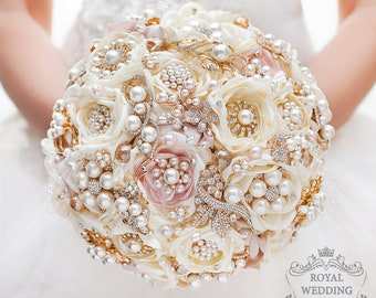 Bridal Bouquet Brooch Bouquet Gold Wedding Bouquet Ivory Bouquet Pink Bouquet Rose Gold Bouquet Fabric Bouquet Jewelry Bouquet Chic Bouquet