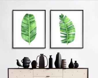 Banana leaf print set, set of 2 banana palm prints, watercolor banana leaf, watercolor green leaves, printable banana leaf, tropical decor