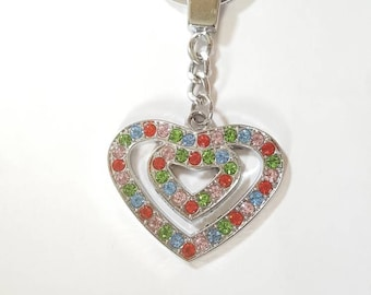 Fashion keychain - Keychain - Cute keychain - Keychain for her - Rhinestone keychain - Heart keychain - Metal keychain - Purse charm