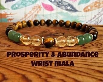 Abundance & Prosperity Bracelet, Citrine + Tiger Eye + Green Aventurine, Intention Wrist Mala Beads, Success + Wealth + Manifestation