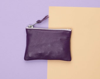 Purple Leather Coin Purse // Bright Leather Coin Pouch // Leather Bag //Leather Change Purse  // Custom Monogram // Zipper Coin Purse