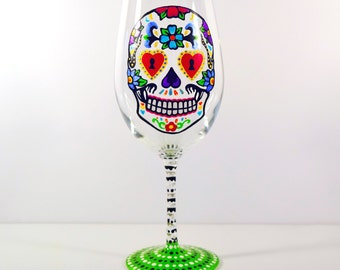 Sugar Skull Wine Glass, Halloween Glasses, Sugar Skulls, Dia De Los Muertos, Day of the Dead, Quirky Gifts, Custom Wine Glass, Spanish Gifts