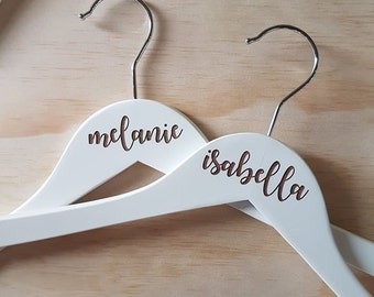 white laser engraved bridal wooden coathangers