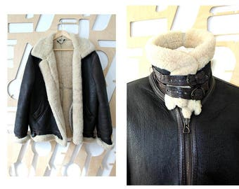 Sheepskin jacket Fur coat Sheepskin coat Boho Shearling coat Hipster Flying Aviator Biker jacket Military Grunge Bomber Leather Jacket