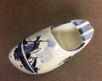 Vintage Delft Blue Pottery Shoe Clog Ashtray Planter Hand Painted Windmill - Holland