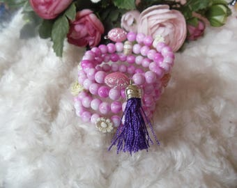 Fanny spiral bracelet with acrylic beads pink / pink Heather