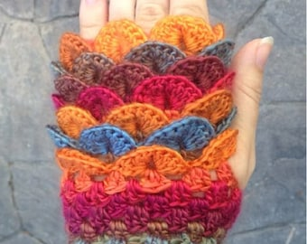 Dragon scale fingerless gloves, Dragon scale gloves, crochet dragon gloves, Dragon scales, fingerless gloves, dragon gloves, crocodile glove