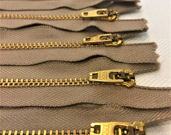 "YKK Beige (810) #4.5 Brass Zipper 5"" 6"" 7"" Closed Bottom (5 Pack)"
