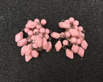 Vintage Japan Pink Plastic Beaded Cha Cha Earrings 0864