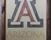 University of Arizona Wildcats Logo Wooden Wall Art   11x14 Laser Cut Wood Inlay in Handmade Wood Frame