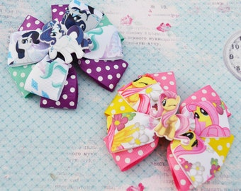 My little pony birthday Fluttershy hair bows Rarity bow My little pony party My little pony headband Baby bow Birthday gift for girlfriends