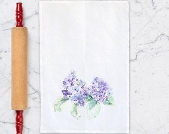 Tea Towel, Blue Hydrangea, Kitchen Dish Towel, Kitchen Decor, Flour Sack Towel, Cotton Towels, Housewarming Gift, Hydrangea painting