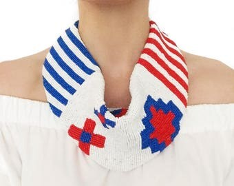 Mercer Beaded Scarf Necklace in Red, White and Blue