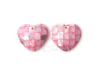 PEA-031-G/2PCS/ Mother of Pearl Mosaic heart/22mmX22mm /Mother of Pearl beads