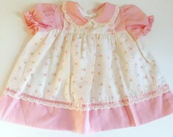 Vintage 70s pink floral baby girl dress