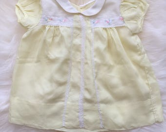 Vintage 50's 1950's yellow silk baby girl dress