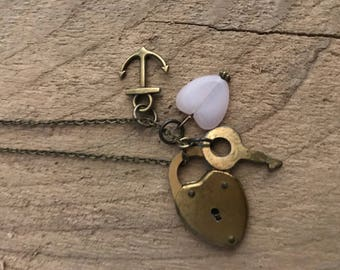 Vintage Brass Heart Lock and Key Necklace on a solid brass antiqued 30 inch chain