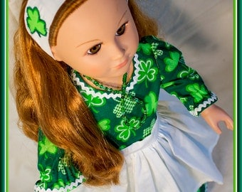 "American made Girl Doll Clothes, Green Shamrock Dress for St Patrick's Day; American Girl, Madame Alexander, Journey Girls n other 18"" Dolls"