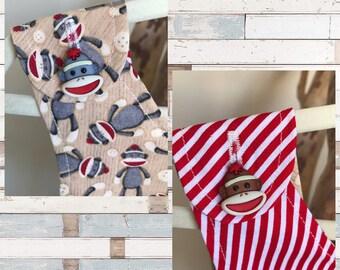 SOCK MONKEY dress- Retro REVERSIBLE toddler pinafore- 12-24 months