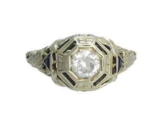 Edwardian 18K White Gold Diamond Sapphire Filigree Ring