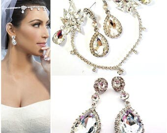SALE Kim Kardashian Set Forehead Jewelry & Bridal Wedding Earrings,Forehead Headband, Bridal Headpiece ,Bridal headband,bridal Hair Jewelry