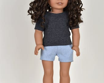 Basic Top short sleeve Dark Heather Grey 18 inch doll clothes