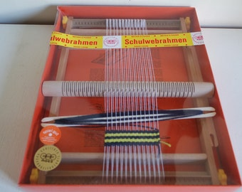 Vintage 70s child/beginner wooden hand loom AGES Germany