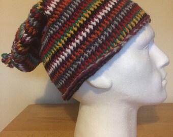 Handmade long warm winter rainbow hat