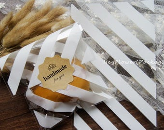 100pcs white stripe plastic bag,clear cellophane bags,sweet Cookie candy packaging,bakery gift wrap, wedding party favor bag