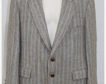 On Sale Vintage 80s HARRIS TWEED Scottish Wool Tan Striped Retro Blazer Suit Jacket 42