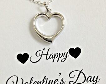 Sterling Silver Heart Necklace, Open Heart Necklace, Valentines Day Necklace for Her, Necklace for Girlfriend, Wife, Dainty Heart Necklace