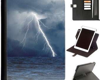 Lightening over sea Luxury Apple ipad 360 swivel i pad leather case cover with card slots