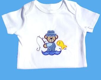 Fishing Bear Bodysuit, Baby Bodysuit, Fishing Bodysuit,  Bear Applique