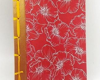 Hard cover handmade printed paper - Japanese stab binding Notebook