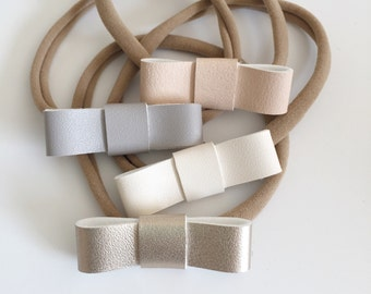 Petite faux leather headbands // baby girl leather headbands, neutral headbands, nylon elastic