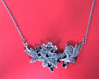 Wonderful Art Deco Marcasite and French Jet Solid Silver Necklace