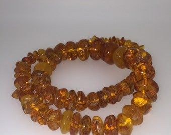 Russian Amber Necklace. Vintage circa 1970's.
